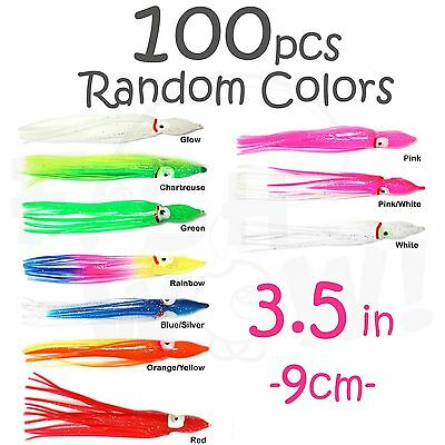 "100pcs 3/"" 7.5cm Squid Skirt Hoochies Salmon Rock Fish Octopus soft Lures Brown"