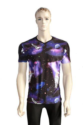Men/'s Disco Astronaut Galaxy Planets Spaceship Print V Neck Fashion Top T-shirt