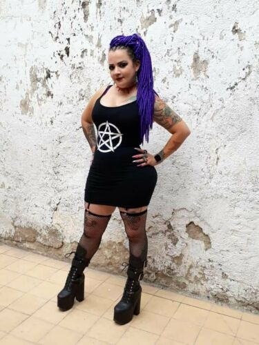 Occult UK Seller Punk Clubwear BNWT Gothic Dress with Pentagram print