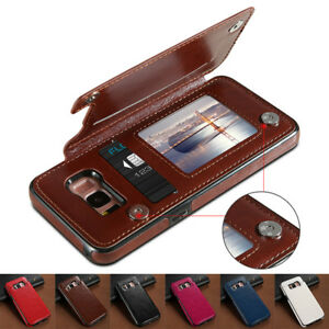 For-Samsung-S7-8-Slim-Wallet-Case-Purse-Back-Card-Holders-Magnetic-Leather-Cover
