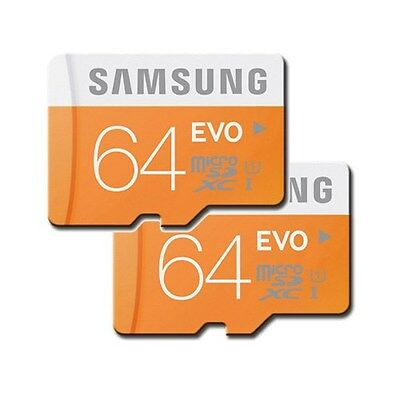 Lot 2 SAMSUNG 64GB Class10 UHS-1 Micro SD Micro SDXC MicroSDXC Card EVO (=128GB)