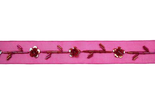 """1/"""" Perline In Organza e nastro Trim con Perline Rosse Vetro Bugle cilindri paillettes"""