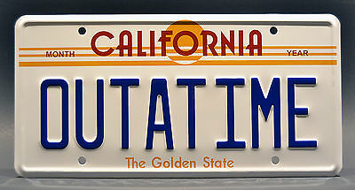 Back to the Future / Delorean / OUTATIME *STAMPED* Prop Replica License Plate