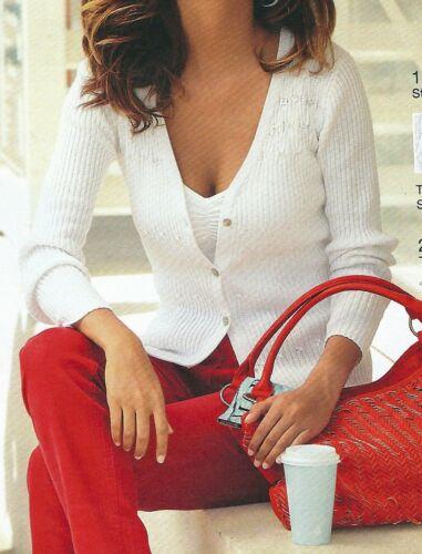 Giacca in maglia Cardigan-al nastro bianco paillettes tg 48