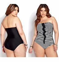 Forever 21 Sweet Stripes 1pc Black & White Bathing Swimsuit Plus Sizes Xl-2x