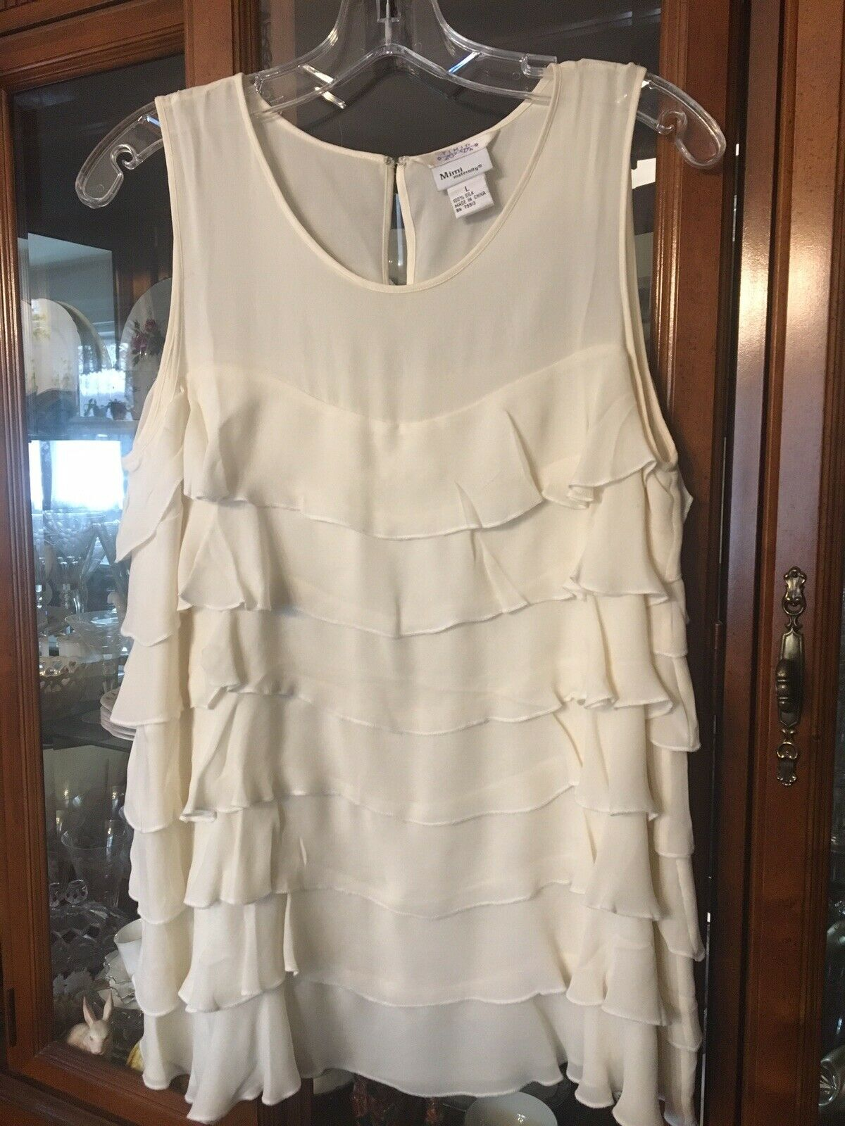 128 SILK ruffled ivory top MIMI Maternity   A Pea In the Pod store NWOT LARGE