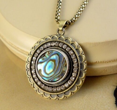 ABALONE metal snap button bronze large pendant w// necklace gifts for women