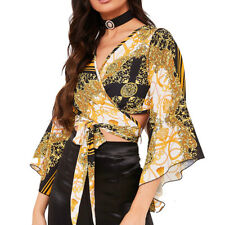 225e73dc82f4c Flared Bell Sleeve Crop Top Womens Retro Print Sexy Tie Wrap Around Party  Top BN