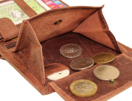Vintage Cuir Portefeuille Porte-monnaie Hunter Buffle Cuir aspect Use Hirsch tete de mort