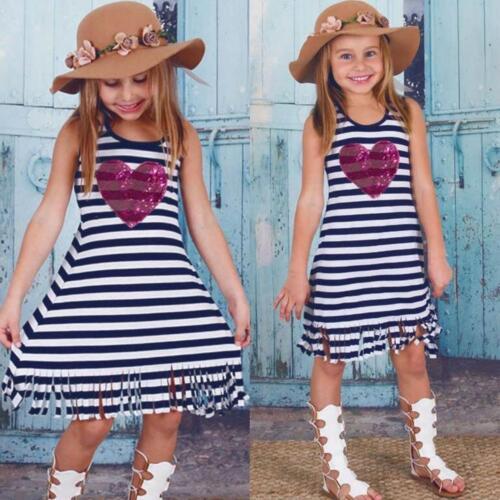 Newborn Baby Kids Girls Dress Heart Sequins Striped Tassel Sun Dresses Outfits