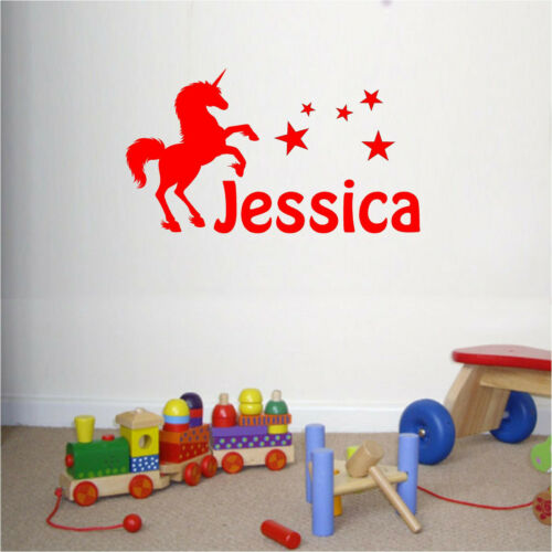 Personalised Unicorn Any Name Girls Bedroom Wall Art Mural Decal Sticker