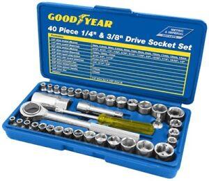 Goodyear-40pc-1-4-034-y-3-8-034-conjunto-de-controladores-de-zocalo-Metrico-Imperial-Trinquete