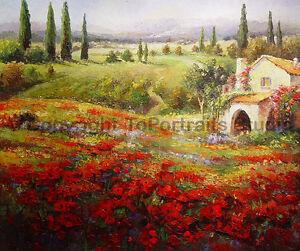 Tuscany-Villa-Garden-Original-Landscape-Oil-Painting-on-Canvas-Art-36-034-x-30-034