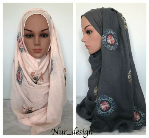 200X75 cm Scarf Hijab *HIGH QUALITY* Cotton Blend Viscose with Flower Embroidery