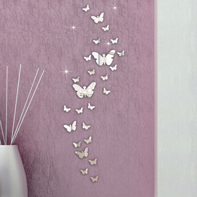 30PC Butterfly Combination 3D Mirror Wall Stickers Home Decoration DIY In Stock