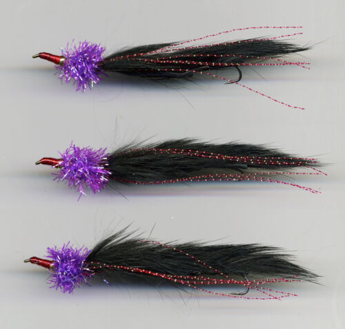 Trout Flies:Snake Fly Purple /& Black Nomad style x 3 size 8 Trailing hook. 391