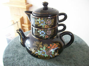 Teapot Set Stackable Vintage Handpainted Porcelain Floral Pattern Made In Japan