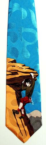 Rock Climbing Mens Silk Neck Tie Climber Bouldering Climbing Turquoise Necktie