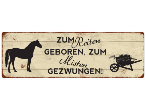 METALLSCHILD Blechschild Türschild ZUM REITEN GEBOREN Geschenk Dekoration Pferde
