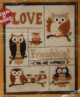 Vintage Love Owls Crewel Embroidery Kit Wall Hanging Pillow 16x20 Friendship '79