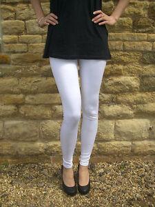 Ankle-Full-Length-Leggings-PVC-WET-LOOK-Shiny-WHITE-Size-8-10-12-14-16-18-S-M-L