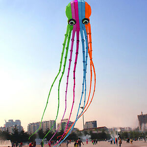 NEW-8m-single-Line-Stunt-colors-Parafoil-Octopus-POWER-Kite-Outdoor-Fun-Sports