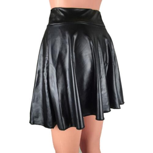 Women Fashion Wild High Waist Artificial Leather Skirt Sun Pleated Skirt LG