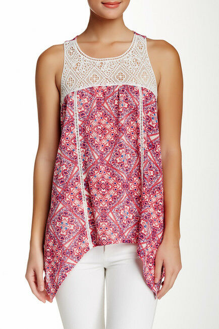 NWT  Socialite Juniors Printed Crochet Detail Tank (Juniors)   SZ S   A215