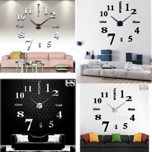 New-Modern-DIY-Large-Wall-Clock-3D-Mirror-Surface-Sticker-Home-Office-Room-Decor