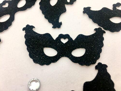 "Black Glitter Mini Mask Cut Outs 2/""x1/"" • 25//Package"
