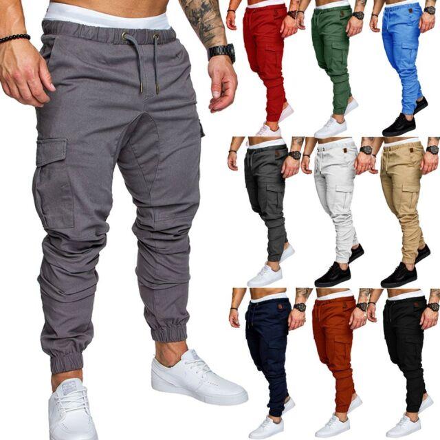 New Men's Slim Fit Urban Straight Leg Trousers Casual Pencil Jogger Cargo Pants