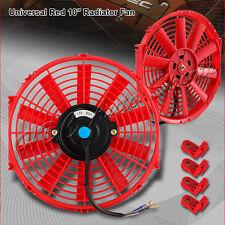 "1 X 10"" Red Electric Slim Push Pull Engine Bay Cooling Radiator Fan Universal 5"