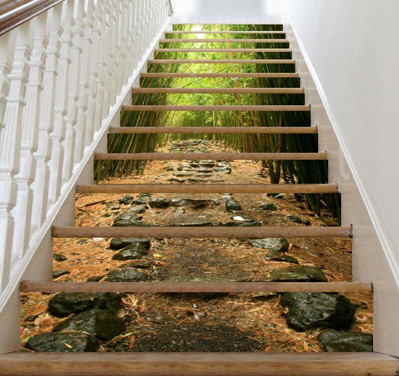3D Bambuswald 23 Stair Risers Dekoration Fototapete Vinyl Aufkleber Tapete DE