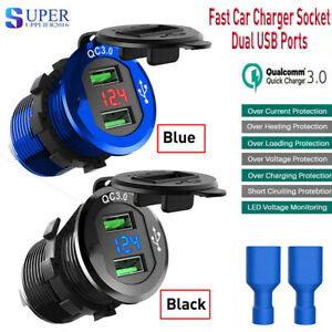 Fast-Car-Charger-Socket-Outlet-W-QC-3-0-Dual-USB-Ports-For-Car-Boat-Motorcycle