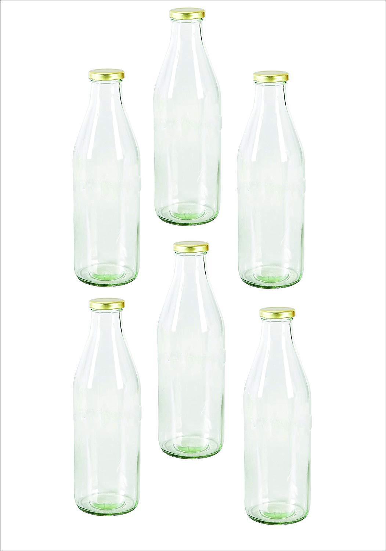Conjunto de 6 Piezas De Leche De Vidrio Transparente Botella De Agua Con Tapa Hermético