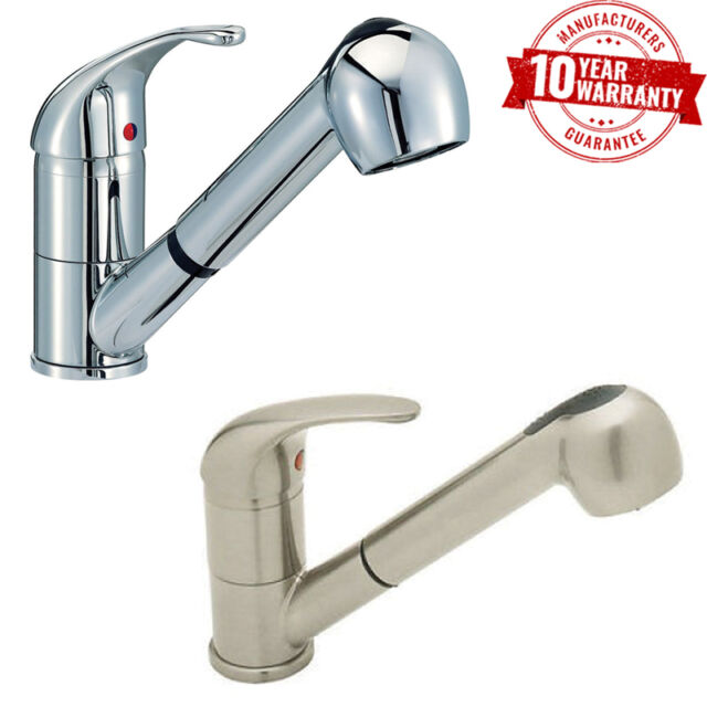 Kitchen Sink Tap Monobloc Mixer Pull Out Spray Hose Chrome or Brushed Steel