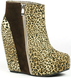 Leopard-Round-Toe-High-Platform-Wedge-Lace-Up-Ankle-Bootie-Boot-7-us-Glaze