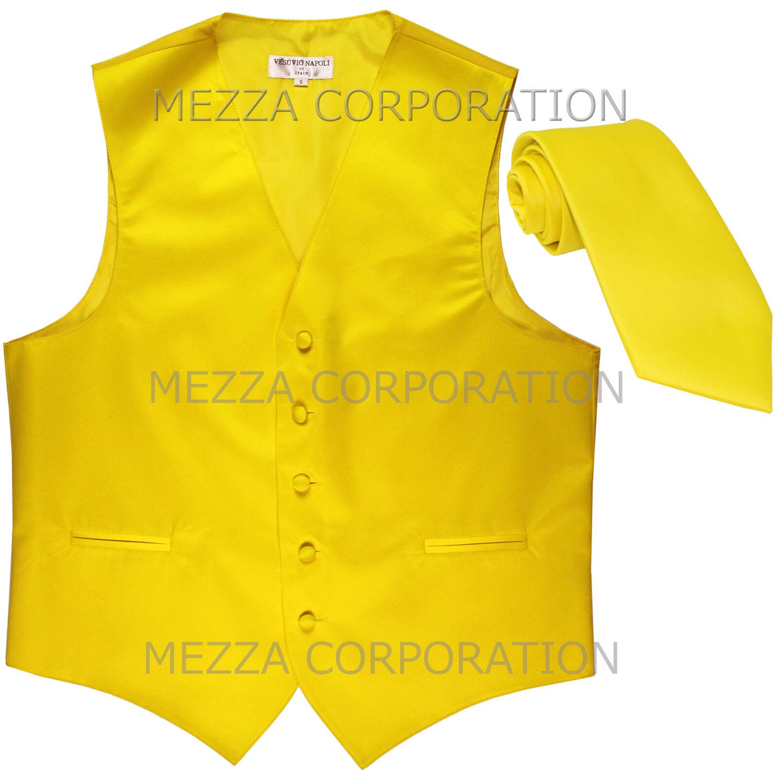 New Men's Vesuvio Napoli Tuxedo Vest Waistcoat Necktie prom wedding party Yellow