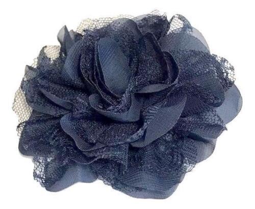 "Navy blue 3.75/"" lace chiffon flower DIY headband supplies"