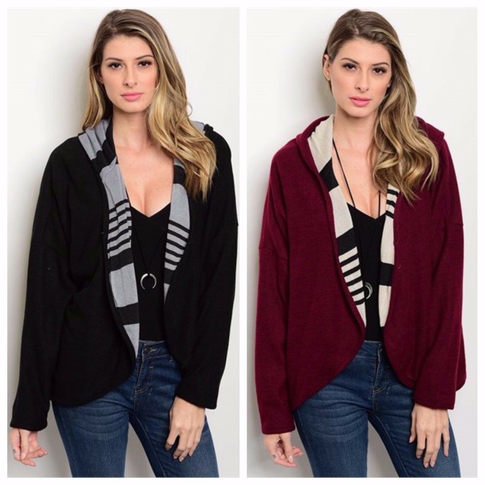 NEW Boutique Oddi CONTRAST STRIPE Hooded Sweater - 2 colors - Size S, M, L