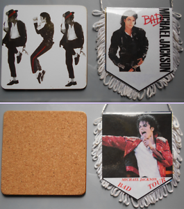 MICHAEL-JACKSON-FANION-BAD-WORLD-TOUR-DESSOUS-DE-VERRE-PENNANT-COASTER