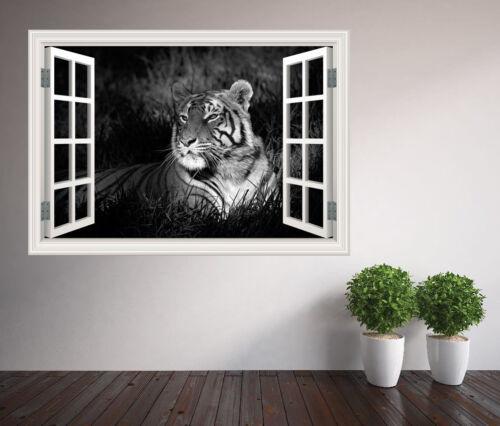 14751945ww Noir et Blanc Tigre assis dans l/'herbe nature Fenêtre Autocollant Mural