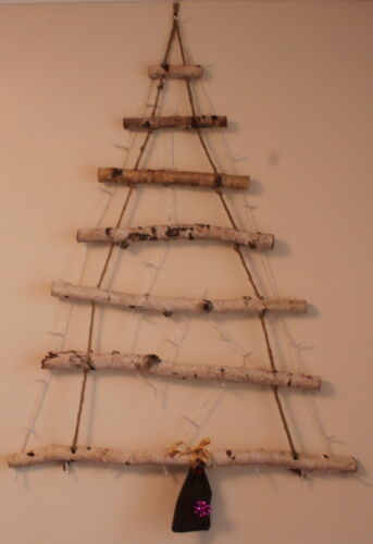 "29/"" Silver Birch Space Saving Hanging Ladder Christmas Tree 40 White LED Lights"