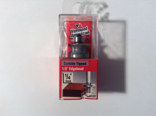 """Double Flute Vermont American 23137 Carbide Tipped 1//8/"""" Edgebead Router Bit"""