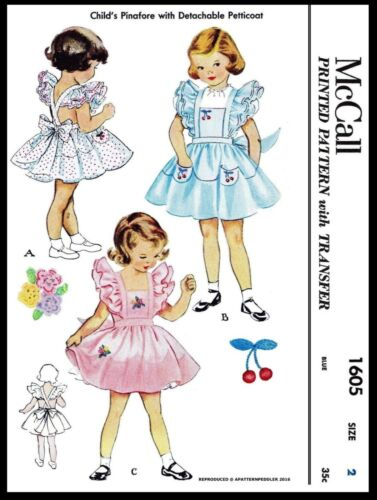 1605 McCall/'s Girl/'s Pinafore Petticoat Vintage Fabric Sewing Pattern Pick 2-4-6