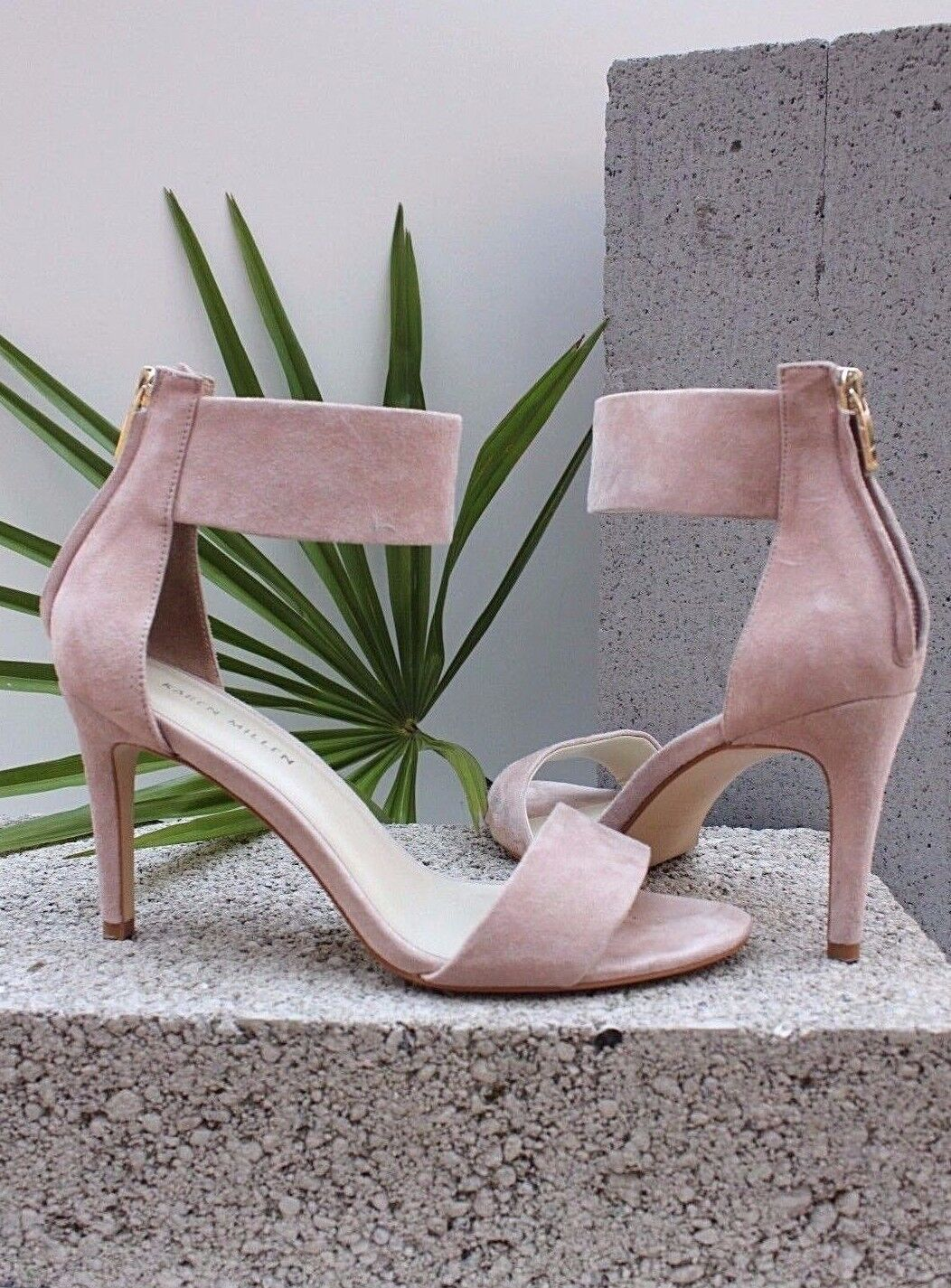 Karen Millen FY095 desnuda Tacones Zapatos Stiletto Sandalias De Cuero De Gamuza 3 36