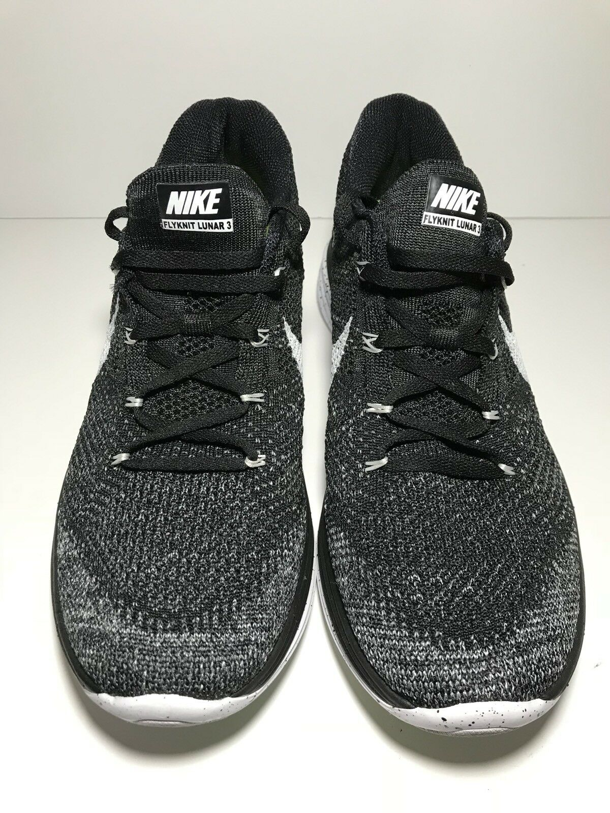 Nike Flyknit Lunar 3 OREO Running Shoes 698181-010 Black White Men Size 9.5
