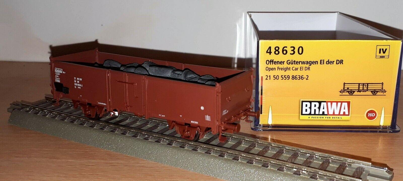 H0 offener Güterzugwagen El mit Ladegut Reifen DR Ep.IV Brawa 48630