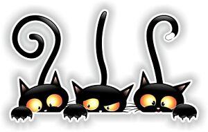 Negro-Gato-Pegatina-para-Parachoques-Portatil-Equipaje-Maletin-Tableta-Viaje