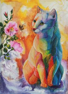 BEE-AWARE-Original-CAT-12X16-Art-Painting-Sherry-Shipley